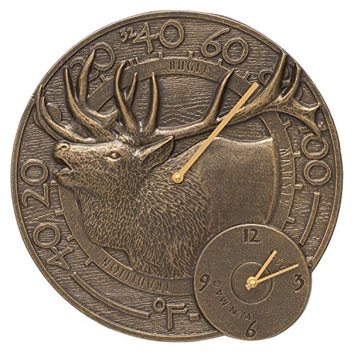 Whitehall Elk 14'' Clock and Thermometer Combo, French Bronze by Whitehall