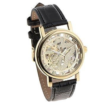 NON Sharplace Vintage Relojes automaticos para Hombres Hueco Cuero Artificial Epoca Producto de Joya - Dorado: Amazon.es: Deportes y aire libre