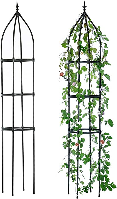 Hin Green Garden Obelisk Trellis, Durable Metal Trellis for Climbing Plants(2nd Generation),87