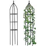 "Hin Green Garden Obelisk Trellis, Durable Metal Trellis for Climbing Plants(2nd Generation),87"" High, Spiral Plant…"