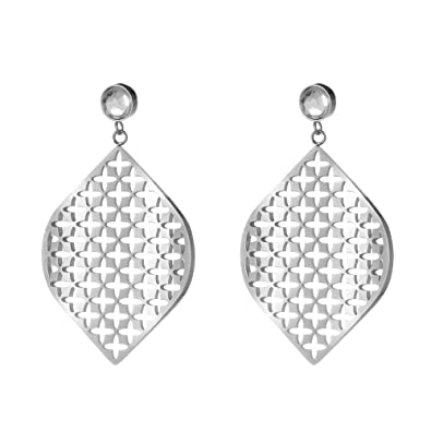 ccbbf18af Amazon.com: ZOBDX Silver Rhombus Hollow Water Drop Hook Earrings for ...