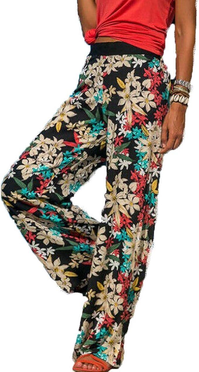 Womens Fashion Floral High Waist Boho Beach Wide Leg Long ...