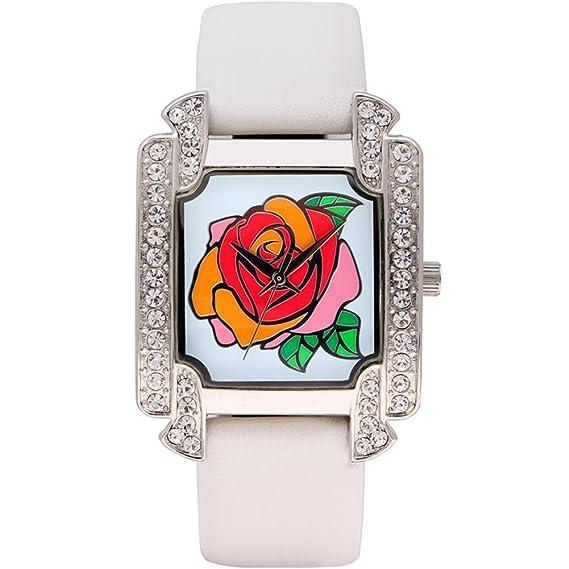 Clásico vintage rosa a cristal impermeable mujer, mesa cuadrada/Relojes de moda/Reloj