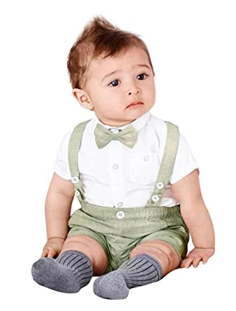 c21dd761ff67 ARAUS Bow Tie Gentleman Christening Suit Baby Boy Short Sleeve Shirt + Bib  Overalls Formal Tuxedo Summer Outfits Clothes  Amazon.co.uk  Clothing