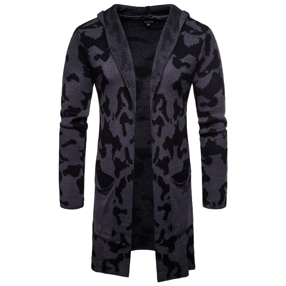 Hooded Solid Knit Camouflage Coat Jacket Cardigan PASATO Men's Long Sleeve Tops Blouse Clothes Featured(Dark Gray, M)