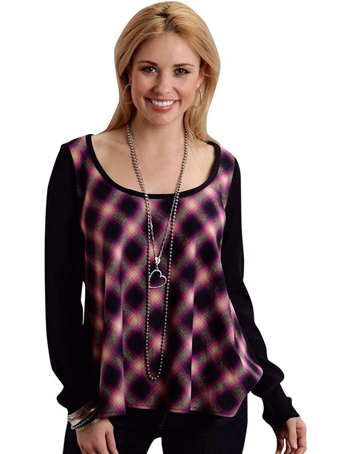 Black Magenta Plaid Long Sleeve Blouse Stetson Ladies Collection- Fall Iii