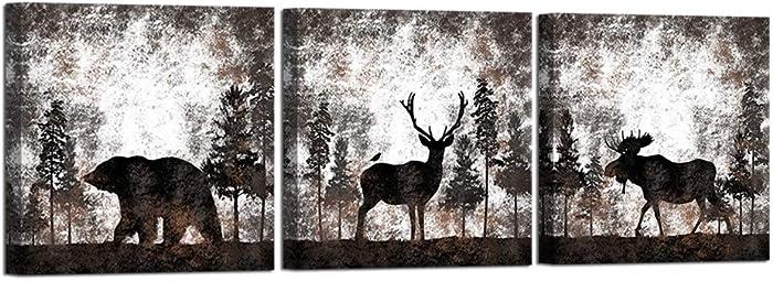 HOMEOART Elk Picture Wall Decor Bear Elk Moose Animal In Forest Landscape Painting Framed Canvas Artwork Ready To Hang 12