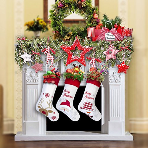 17'' Large Christmas Stockings Set of 3 with Santa, Reindeer, Snowman, Gospire Classic Linen Christmas Socks for Decorations Gift/Treat Bags by Gospire (Image #6)