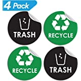 "Recycle Sticker Trash Bin Label - 4"" x 4"" - Organize & Coordinate Garbage Waste from Recycling - Great for Metal Aluminum Steel or Plastic Trash Cans - Indoor & Outdoor - Use at Home Kitchen & Office"