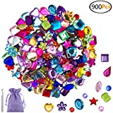 JPSOR 900 Pcs Gems Acrylic Flatback Rhinestones Gemstone Embellishments, 9 Shapes, 6-13mm, with Tweezers and Bag