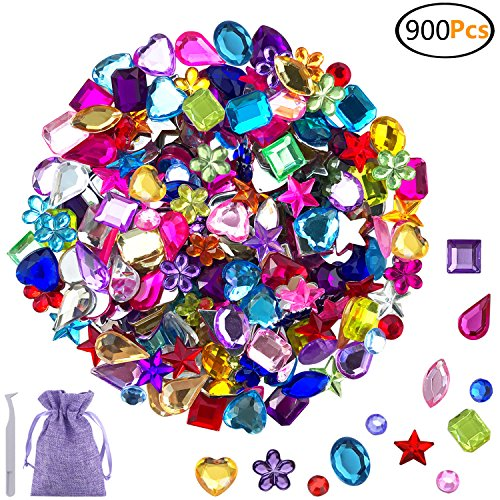 JPSOR 900pcs Gems Acrylic Flatback Rhinestones Gemstone Embellishments, 9 Shapes, 6-13mm, with Tweezers and Bag (Assorted Acrylic Rhinestones)