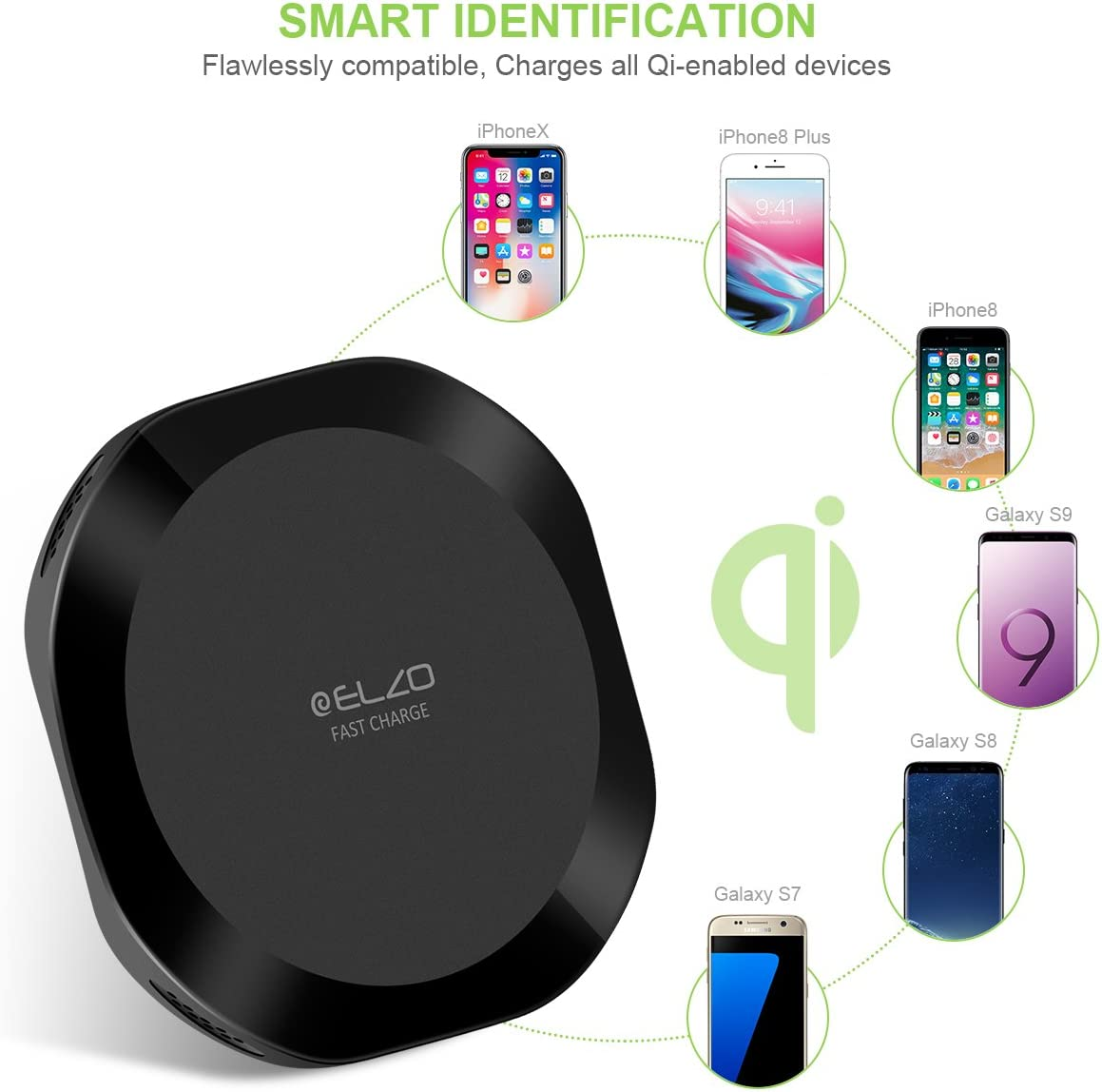 and All Qi-Enabled Phones Qi-Certified Standard-Charging for iPhone Xs//Xs Max//XR//X//iPhone 8//8+ ELZO Wireless Charger Fast-Charging for S10//S10+//S10e//Note 9// S9// S9