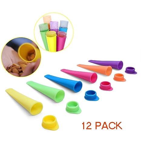 PEI Moldes de silicona para hacer paletas de hielo con tapa, 12 unidades, varios