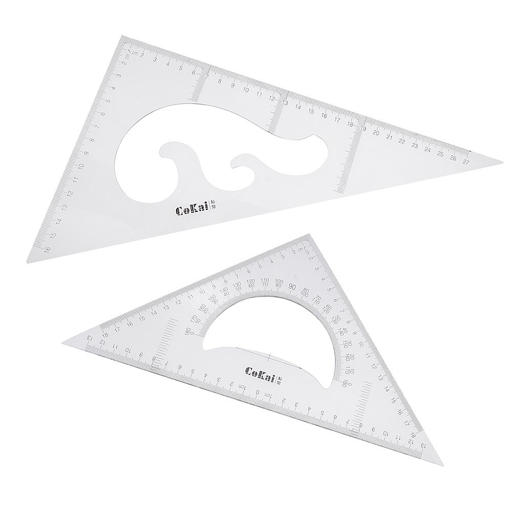 Homyl Transparent Durable Plastic Triangle Ruler Set 45/90 Degrees and 30/60 Degrees 2 Pieces for Equip Architects, Engineers, Artists, Designers, Students, Teachers - 20cm