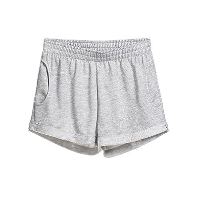 Abetteric Women Thin Summer Hot Pants Sleep Pant Yoga Soft Cozy Crimping Gym Shorts Light Grey XXS