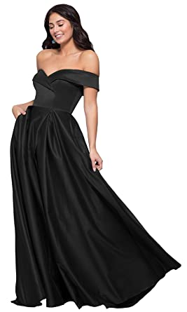 f1376191875 KKarine Women s Off The Shoulder Satin Prom Dress Sweetheart A-Line Long  Formal Evening Party