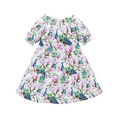 Vestido de Flores Informal para Niños Pequeños Bebés Fuera del ...
