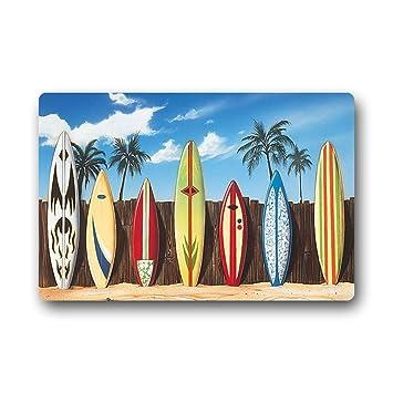 Kitchor Personalizado Hawai Tabla de Surf Floor Mat Felpudo para Interior y Exterior (18 x