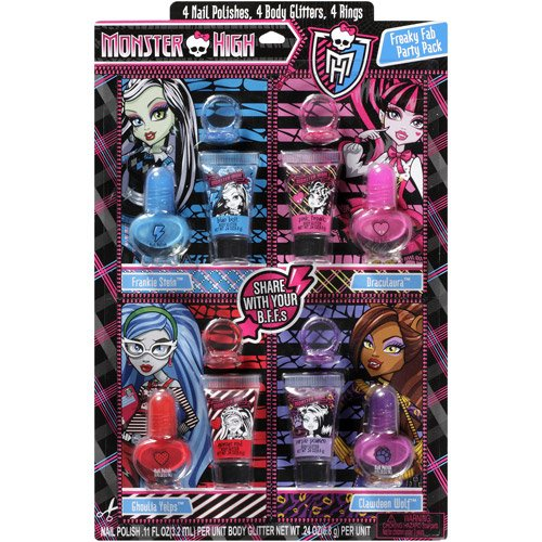 Monster High Freaky Fab Nail Polishes Body Glitters and Rings Set (Monster High Rings)