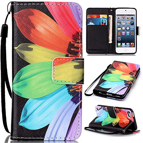 iPod Touch 6 Case, iPod Touch 5 Case,Voanice Kickstand Card Holders Flip Cover Premium PU Leather with Magnetic Hand Strap for iPod Touch 5th / iPod 6th Generation&Stylus-Sunflower ()