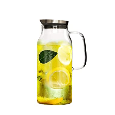 IDEALUX Glass Pitcher with Stainless Steel Filter Lid,68 ounces Heat Resistant Borosilicate Water Carafe,Coffee, Tea and Lemonade Pitcher