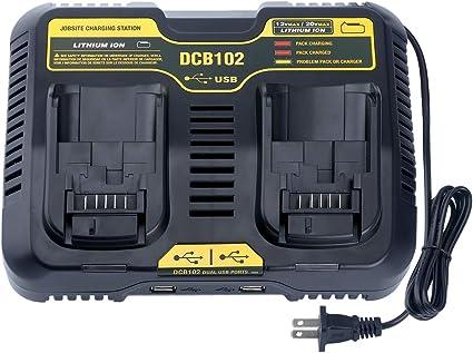 Amazon.com: Qbmel DCB102BP Cargador de batería doble de ...