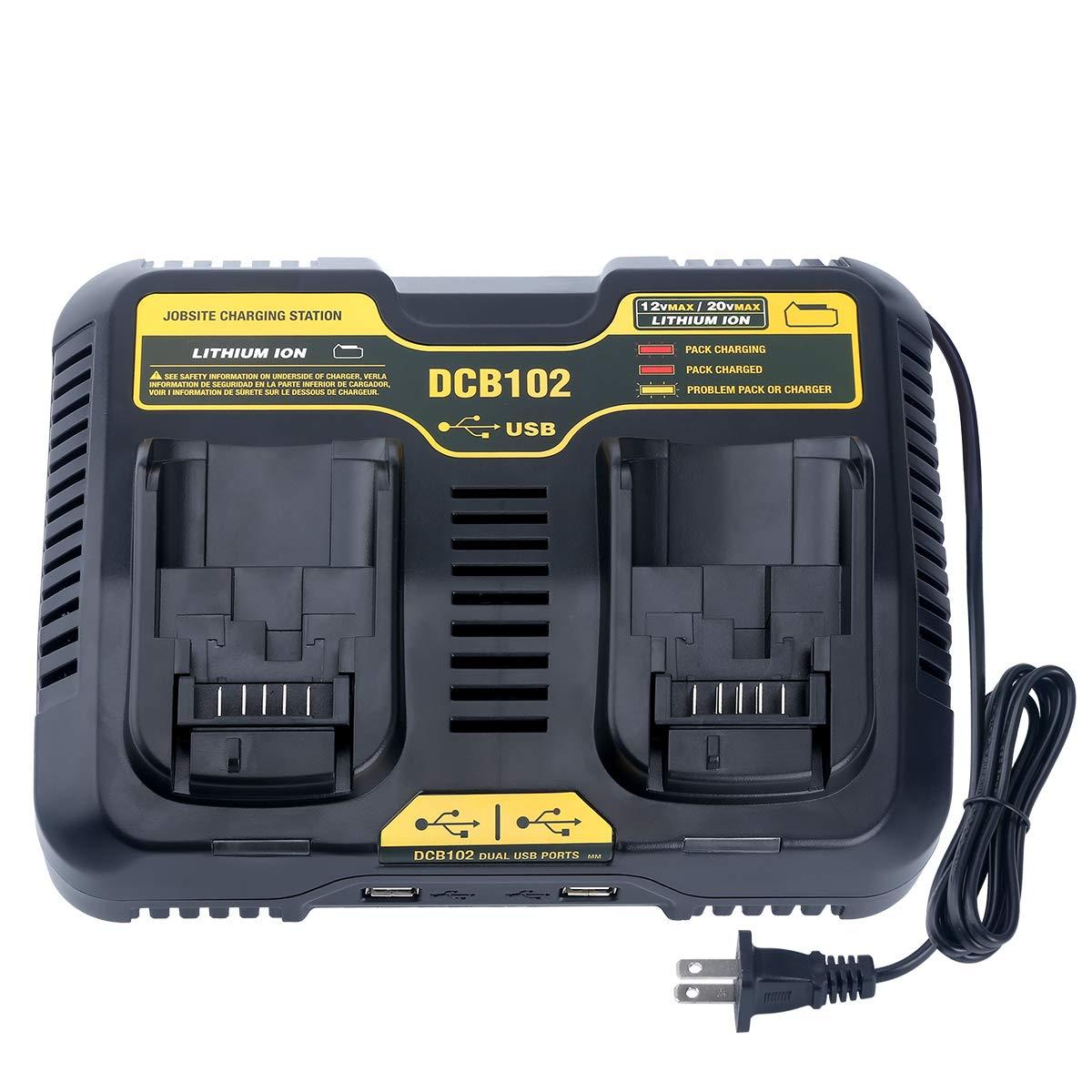 Qbmel DCB102BP Replacement Dual Battery Charger for DEWALT 12-Volt MAX/20-Volt MAX Jobsite Charging Station DCB105 DCB112 DCB120 Lithium Battery DCB205-2 DCB204 DCB127 DCB200