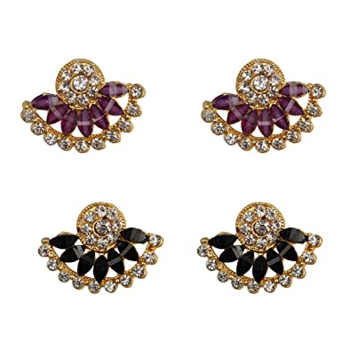 103770417 Buy Taj Pearl Women's Stylish Fancy Party Wear Designer Multicolor Alloy 2  Pair Stud Earrings Fashion Jewellery Online at Low Prices in India | Amazon  ...
