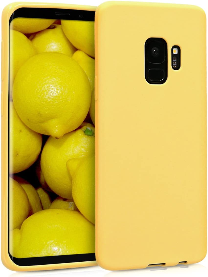 kwmobile TPU Silicone Case Compatible with Samsung Galaxy S9 - Soft Flexible Protective Phone Cover - Yellow Matte