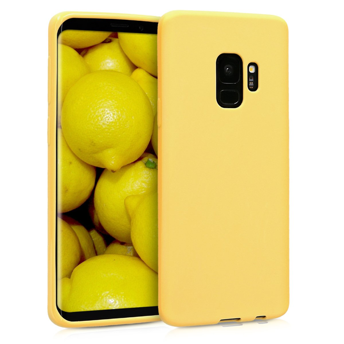 new product 124cb f3cc6 kwmobile TPU Silicone Case for Samsung Galaxy S9 - Soft Flexible Shock  Absorbent Protective Phone Cover - Yellow Matte