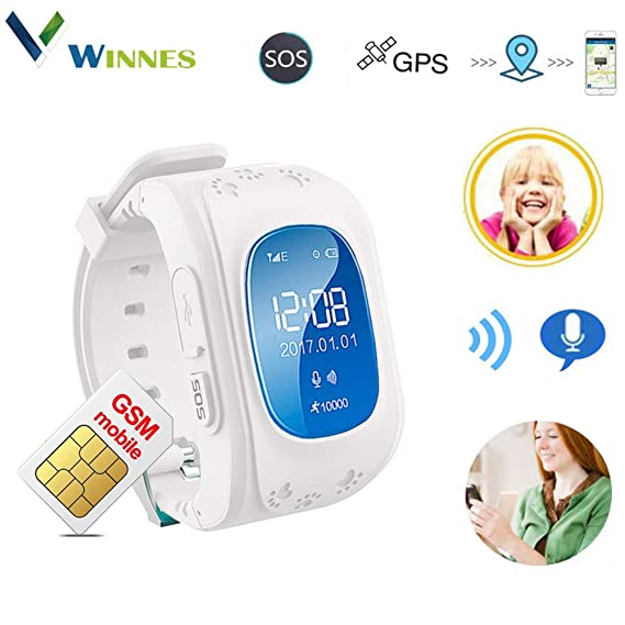 Waterproof Kids Smart Watch by Winnes with GPS Tracker SIM Card Phone Watch Anti-Lost Alarm Function Gift for Boys and Girls (White)