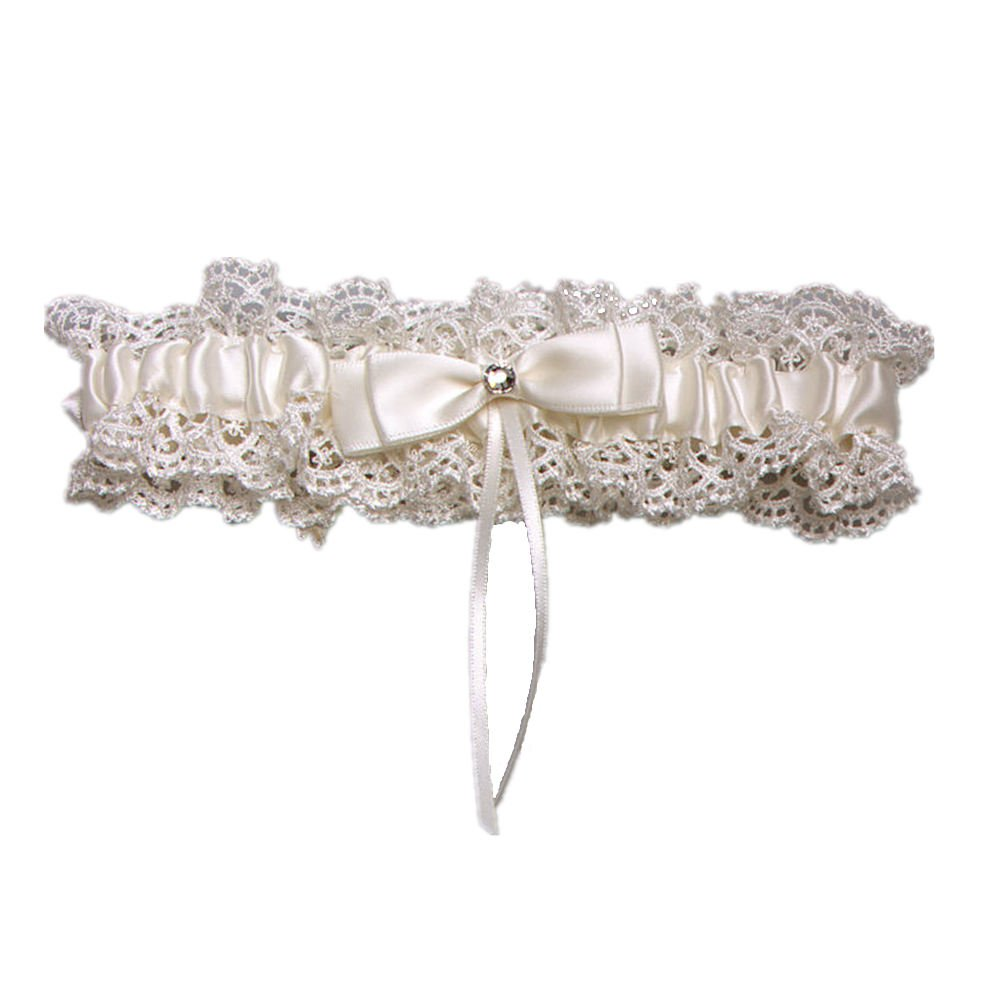 AZDRESS Lace& Satin Wedding Bridal Garter w/Bow& Rhinestone