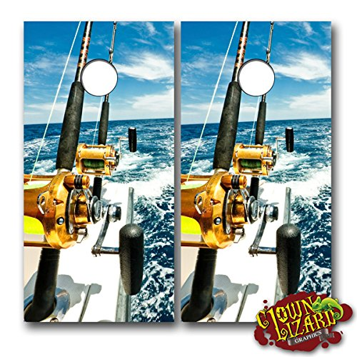 CL0056 Deep Sea Fishing CORNHOLE LAMINATED DECAL WRAP SET Decals Board Boards Vinyl Sticker Stickers Bean Bag Game Wraps Vinyl Graphic Tint Fishing Deep Sea
