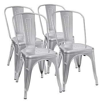 Amazon.com - Furmax Metal Dining Chair Tolix Style Indoor-Outdoor ...