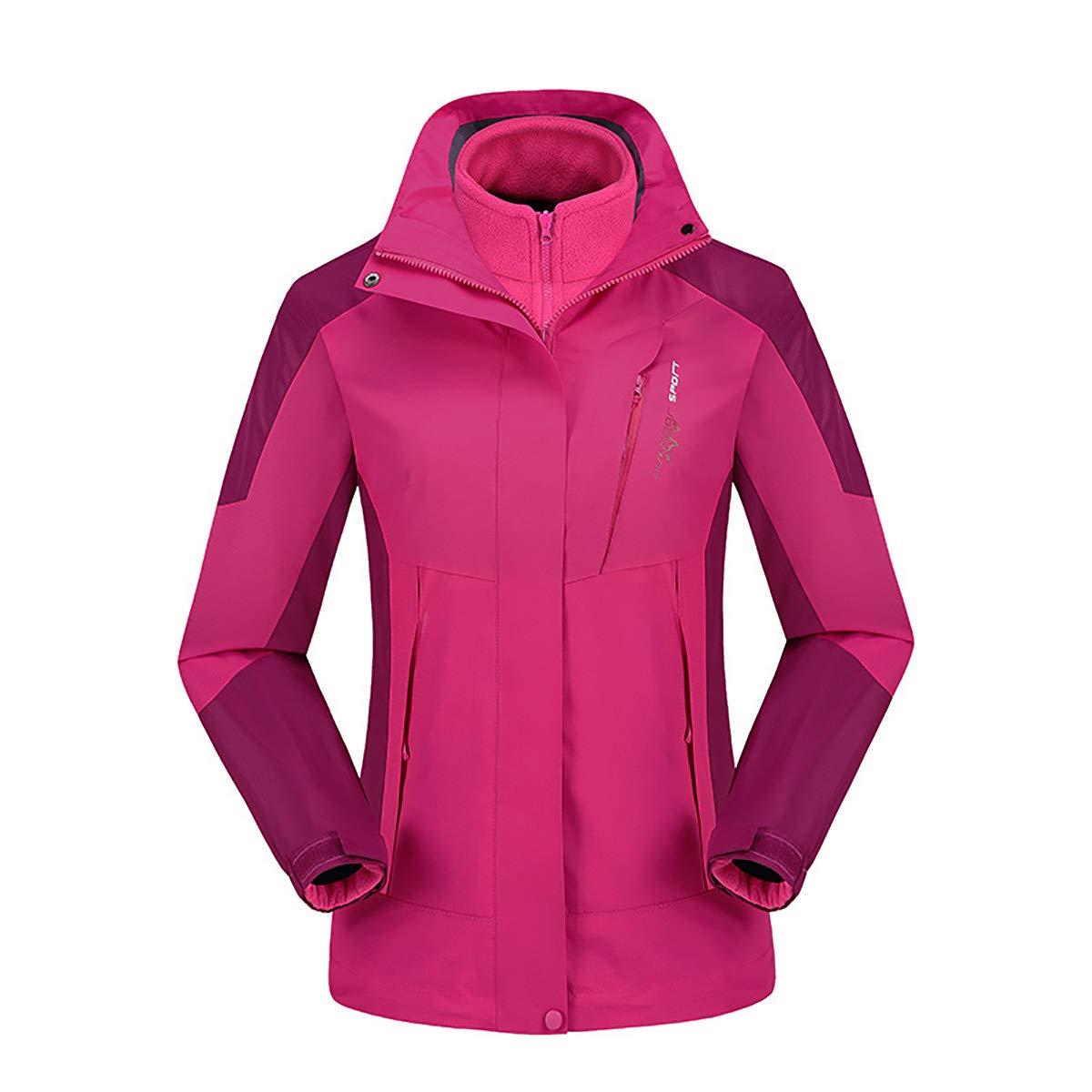 Roserouge XXXL W&TT Femmes 3-en-1 Veste, Doubleure en Molleton Détachable Deux Pièces Doudoune Coupe-Vent Imperméable Chaud Extérieur Alpinisme Sportswear,rouge,XXXXL