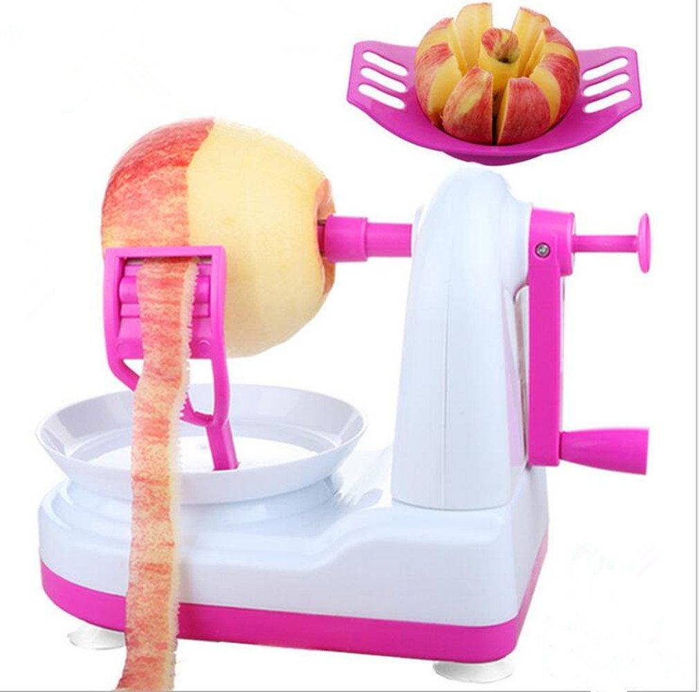 Automatic Plastic Hand Fruit Potato Apple Peeler and Apple Divider Slicer Splitter (Blue) Univegrow