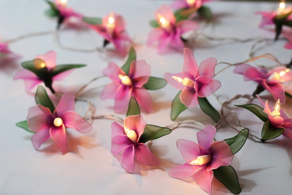 20 Pink Orchid Flower Thai Vintage Handmade light decoration patio Christmas, Xmas Wedding party