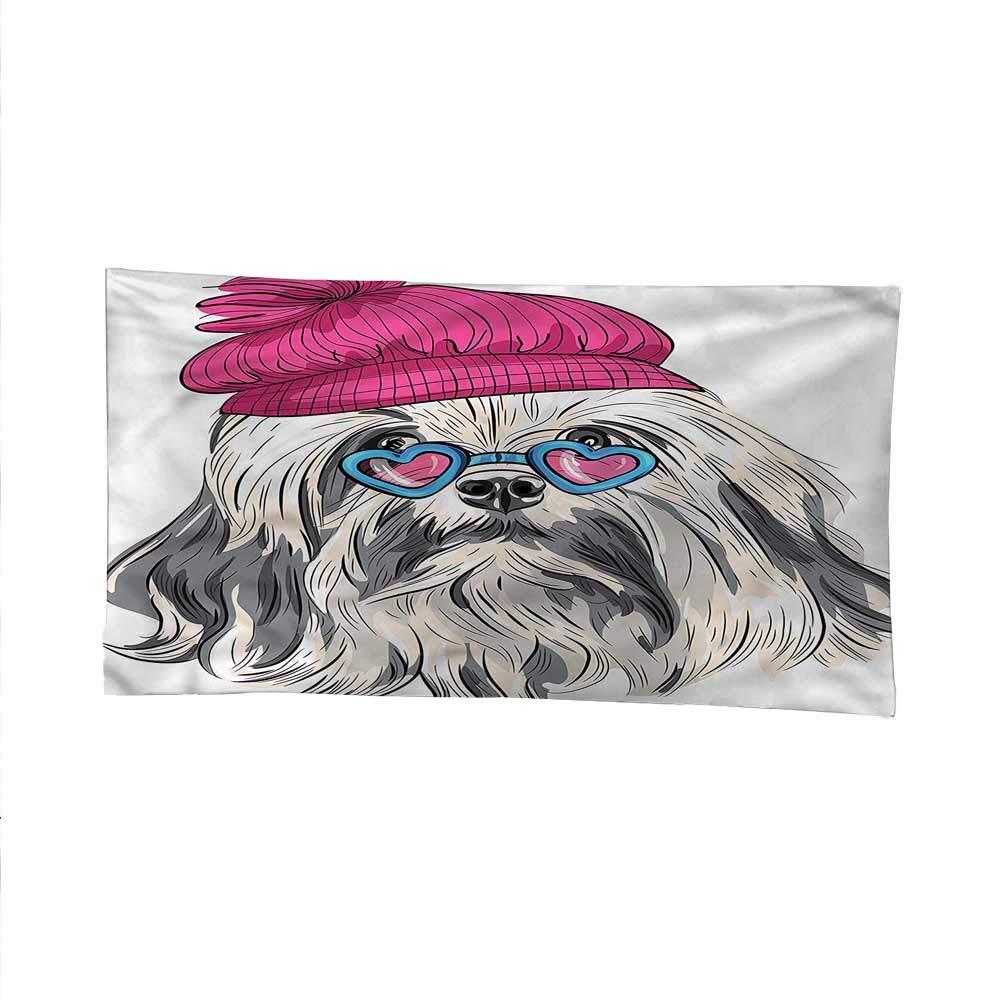 Indiesimple tapestryart tapestryLowchen Dog Glasses Hat 84W x 54L Inch