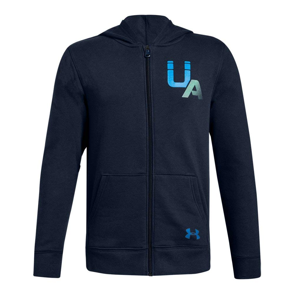 Under Armour Boys Rival Logo Full Zip, Academy (408)/Blue Circuit, Youth Large