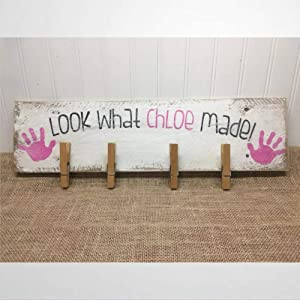 BYRON HOYLE Wooden Sign Back to School Sign Child's Artwork Display Artwork Holder Back to School Present Look What I Made Wood Plaque Wall Art Funny Wood Sign Wall Hanger Home Decor