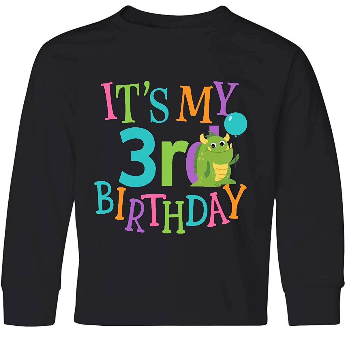 inktastic 3rd Birthday Dinosaur Outfit Girl Toddler Long Sleeve T-Shirt
