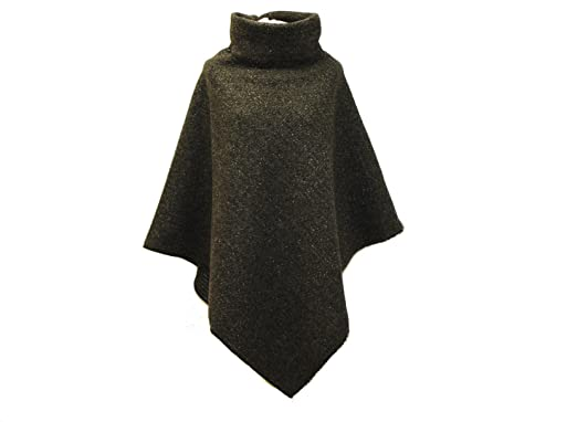 bb62f6c6c41e2d dunkle design Damen Poncho Cape Wollponcho Wolle Wollcape (Grau Silber  Meliert)
