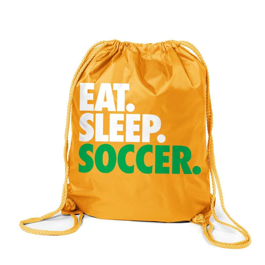 Black ChalkTalkSPORTS Soccer Sport Pack Cinch Sack Eat Sleep Soccer
