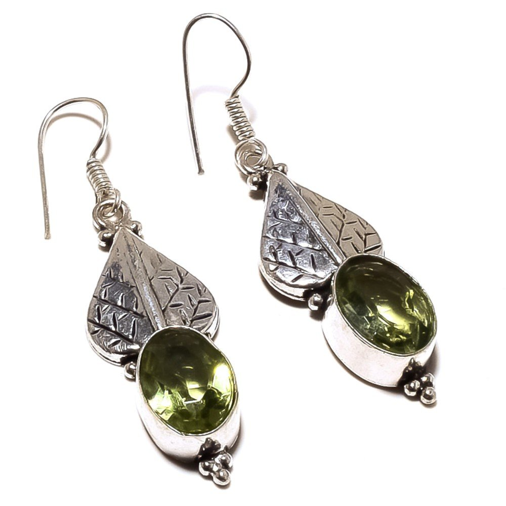 Green Amethyst Quartz Sterling Silver Overlay Earring 1.75 Handmade Jewelry Latest Design