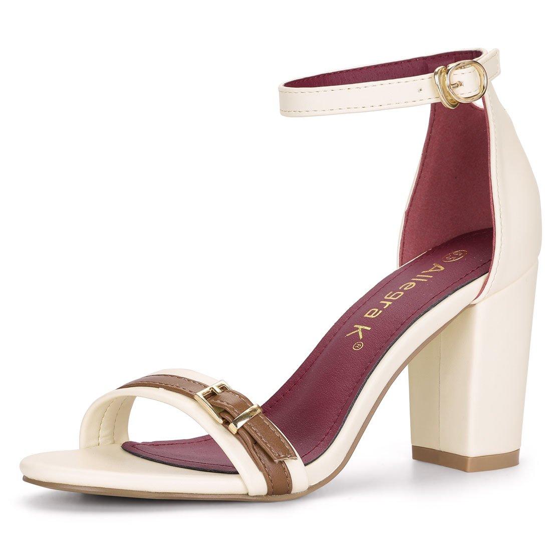 Allegra K Women's Ankle Strap Chunky Heel Ivory Sandals 5.5 M US