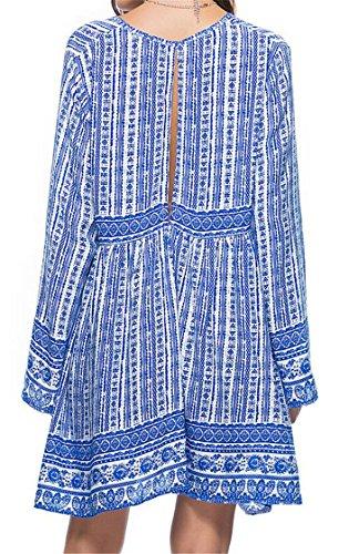 Neck Print V Jaycargogo Long Deep Sleeve Bohemian Women Midi Dress Blue gOqqZPw