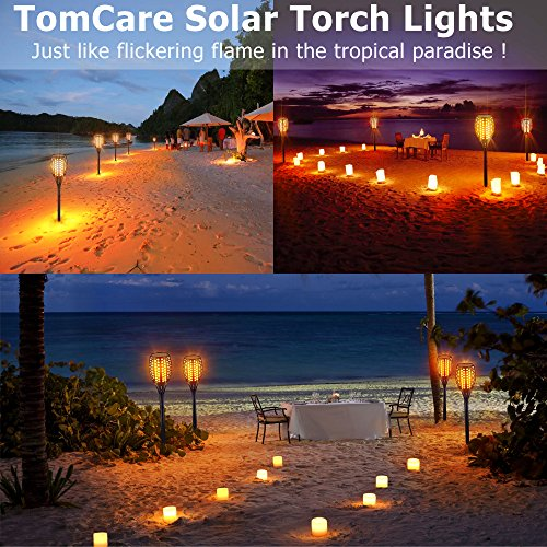 TomCare Solar Lights Upgraded, Waterproof Flickering Flames Torches Lights Outdoor Solar Spotlights Landscape Decoration Lighting Dusk to Dawn Auto On/Off Security Torch Light for Patio Driveway (4) by TomCare (Image #6)