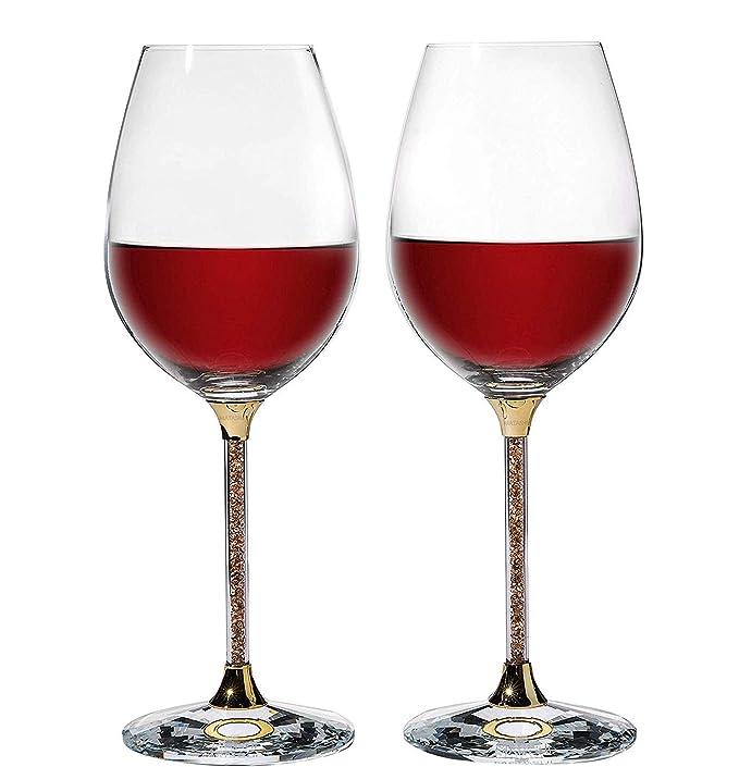 Red copas de vino Conjunto de 2, 460 ml Libre de plomo para copas ...