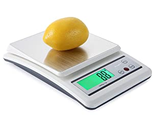 Mougerk Food Scale, 22lb 10kg Digital Kitchen Scale Weight Grams and oz 1g/0.1oz Precise Graduation, Stainless Steel Platform (2 AAA Batteries Not Included)