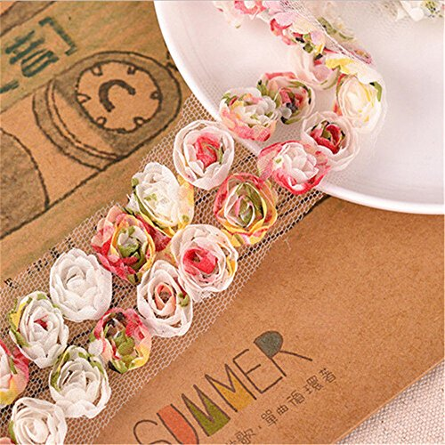3 Meter Chiffon Organza Colorful Rose Flower Lace Edge Trim Ribbon 5cm/ 2cm Width Vintage Edging Trimmings Fabric Embroidered Applique Sewing Craft Wedding Dress Embellishment Clothes Decor Embroidery